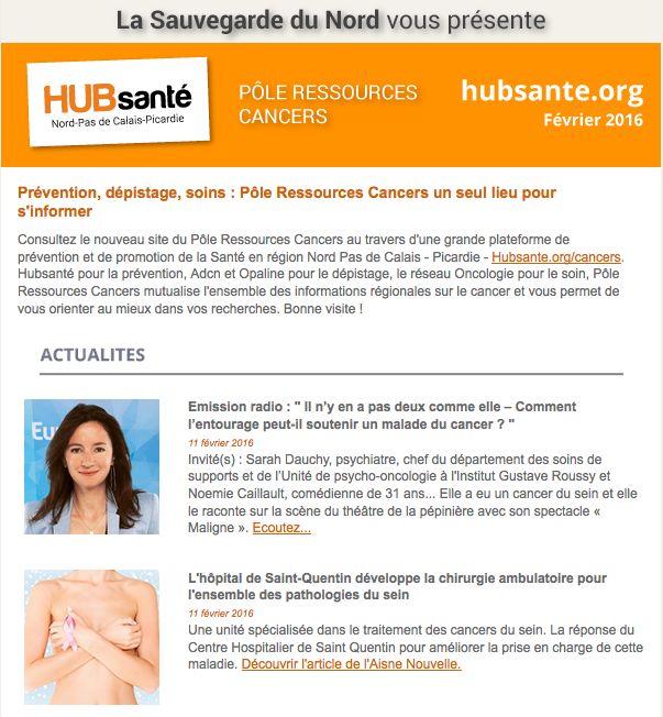 newsletter cancers fevrier 2016